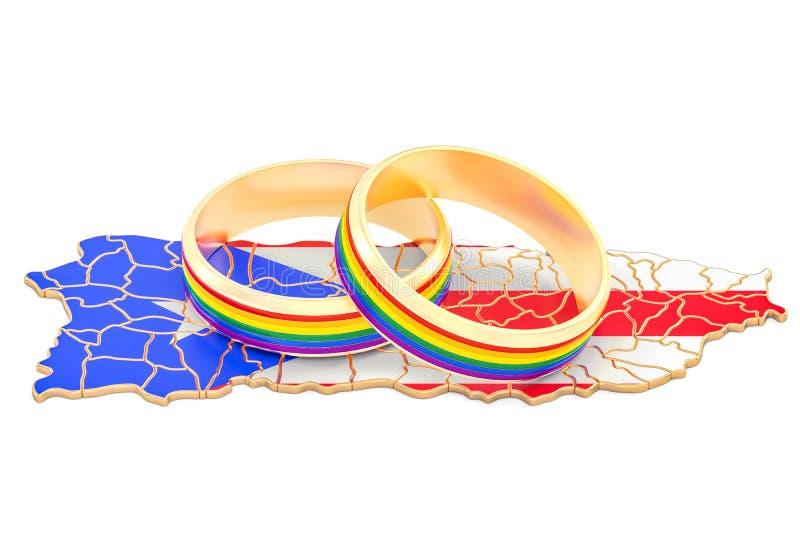 O mapa de Porto Rico com arco-íris de LGBT soa, a rendição 3D ilustração stock