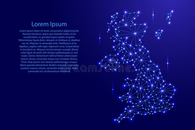 O mapa de Reino Unido do mosaico poligonal alinha a rede, raios, estrelas do espaço da ilustração ilustração stock