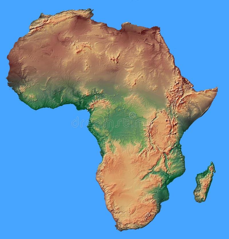 O mapa de relevo de África isolou-se imagens de stock