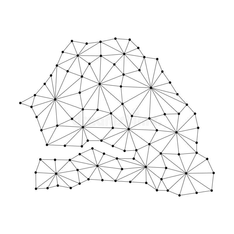 O mapa de Senegal do mosaico poligonal alinha a rede, raio, ilustração dos pontos ilustração stock