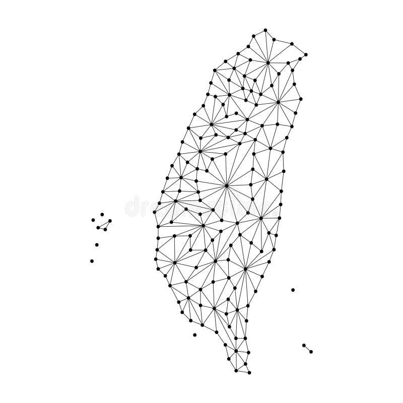O mapa de Taiwan do mosaico poligonal alinha a rede, raios, ilustração do vetor dos pontos ilustração stock