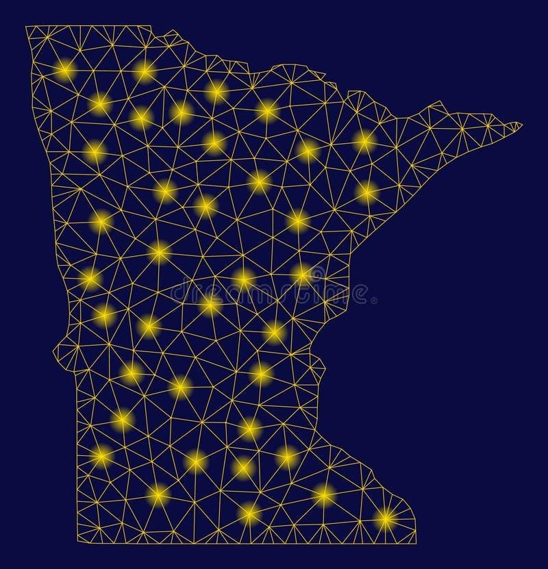 2.o mapa del estado de Minnesota de la malla amarilla con los puntos de la llamarada libre illustration