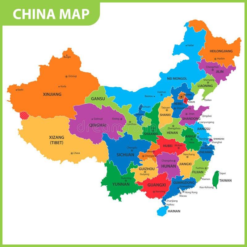 O mapa detalhado da China com regiões ou estados e cidades, capitais ilustração royalty free