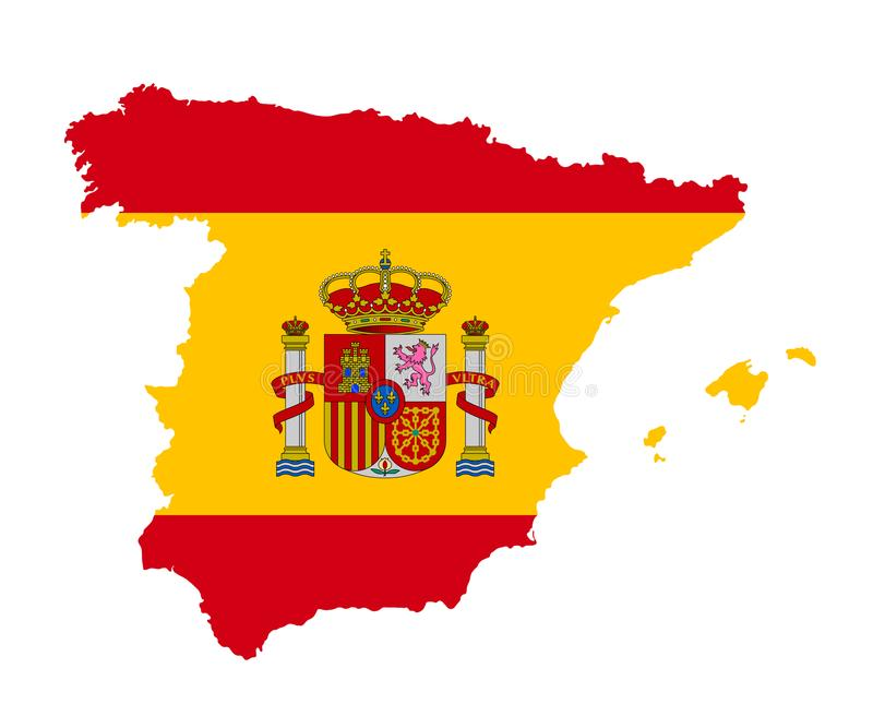 O mapa detalhado da Espanha com bandeira nacional ilustração royalty free
