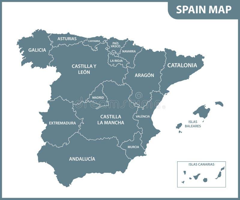 O mapa detalhado da Espanha com regiões ilustração stock