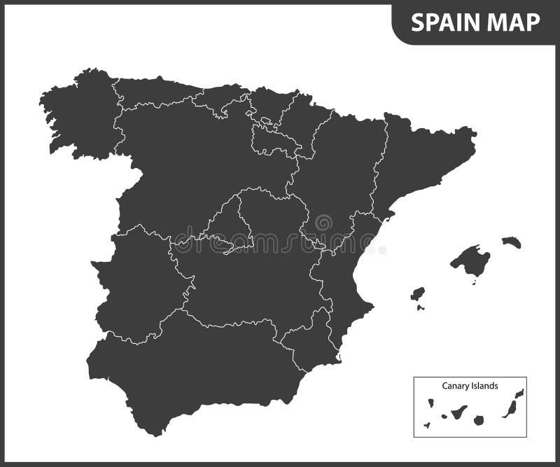 O mapa detalhado da Espanha com regiões ilustração royalty free