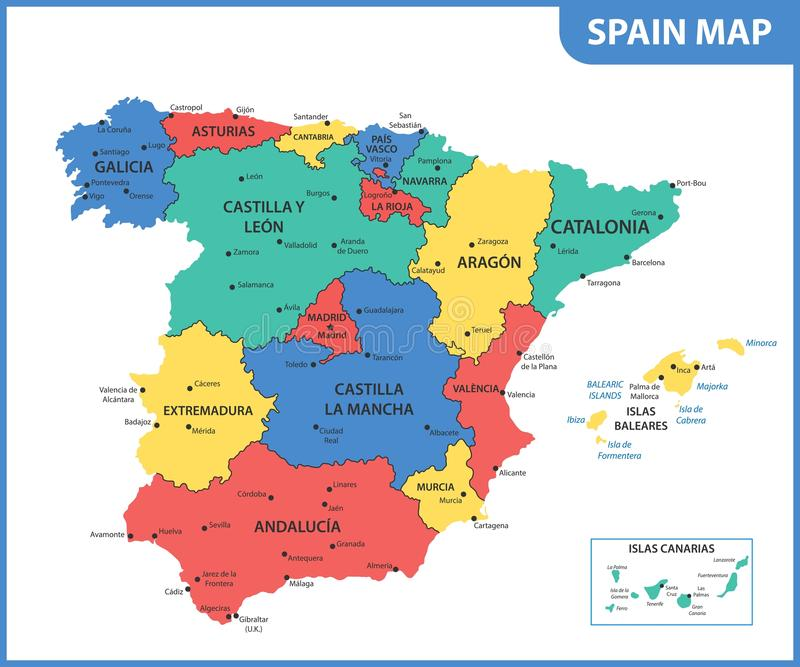 O mapa detalhado da Espanha com regiões ou estados e cidades, capitais ilustração royalty free