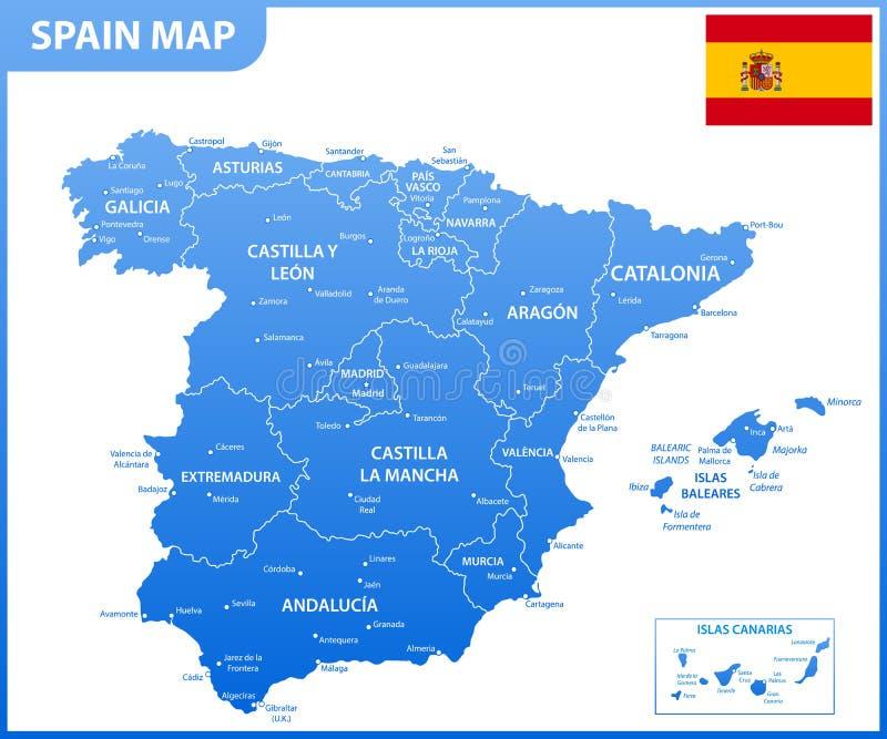 O mapa detalhado da Espanha com regiões ou estados e cidades, capitais, bandeira nacional ilustração do vetor