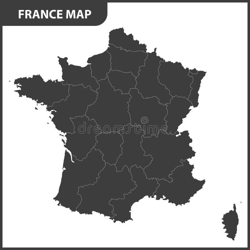 O mapa detalhado de França com regiões ilustração do vetor