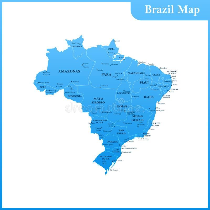 O mapa detalhado do Brasil com regiões ou estados e cidades ilustração do vetor