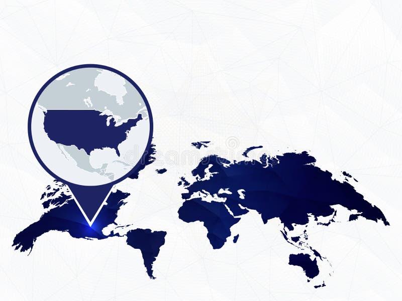 O mapa detalhado dos EUA destacou no mapa do mundo arredondado azul ilustração royalty free