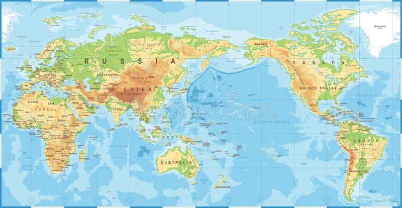 O mapa do mundo colorido topográfico físico político o Pacífico centrou-se ilustração do vetor