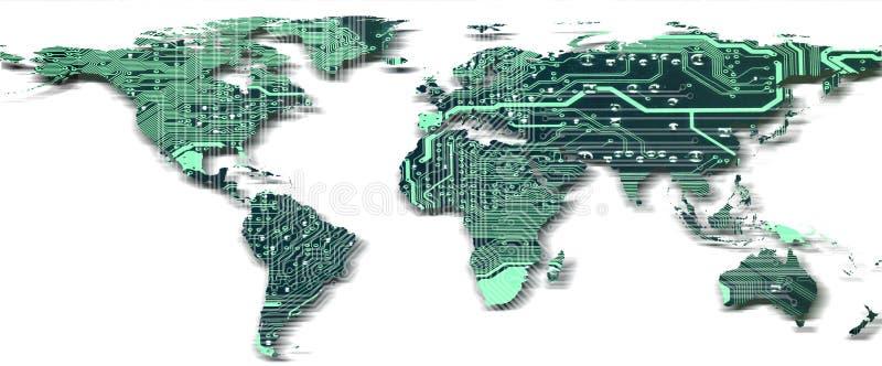 O mapa do mundo com teste padr?o da placa de circuito isolou-se ilustração do vetor