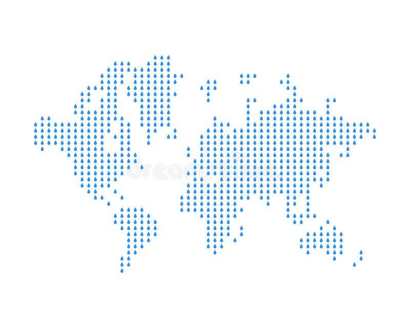 O mapa do mundo consiste em gotas da chuva Conceito na meteorologia e nas condições meteorológicas Ilustração lisa Eps 10 ilustração royalty free
