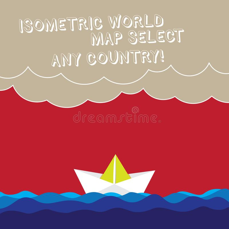 O mapa do mundo isométrico do texto da escrita da palavra seleciona qualquer país Conceito do negócio para a onda moderna de posi ilustração do vetor
