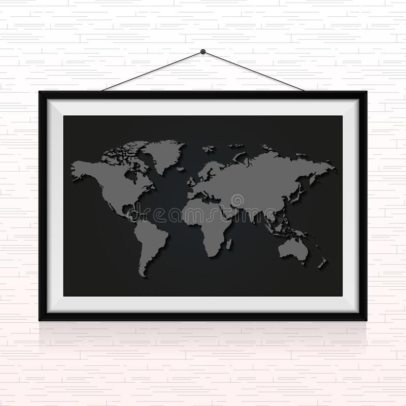 O mapa do mundo no quadro da foto pendurou na parede ilustração do vetor