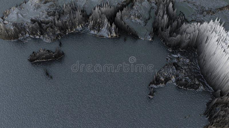 O mapa do mundo preto abstrato, Continet expulsou ou deslocamento fotos de stock royalty free