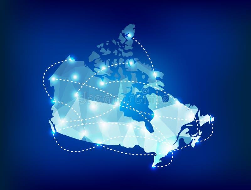 O mapa do país de Canadá poligonal com ponto ilumina o plac ilustração royalty free
