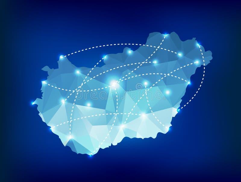 O mapa do país de Hungria poligonal com ponto ilumina lugares ilustração royalty free