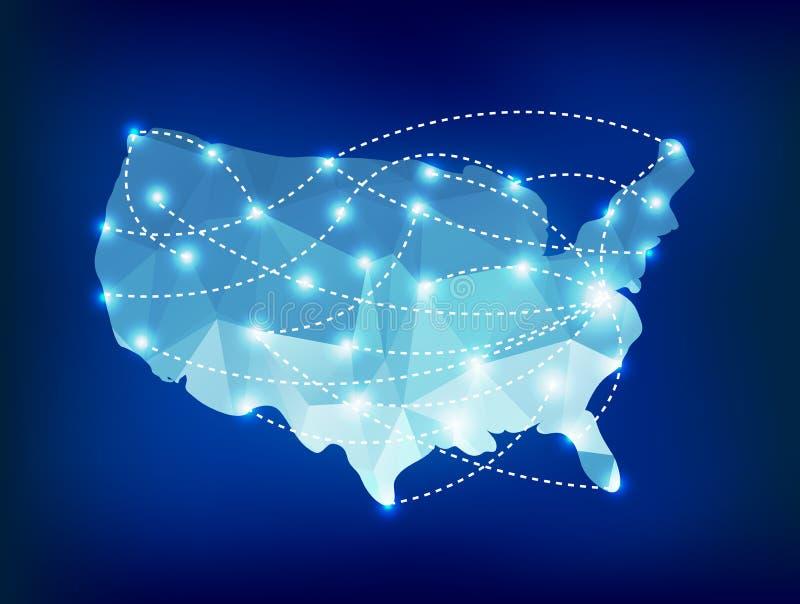 O mapa do país dos EUA poligonal com ponto ilumina lugares ilustração stock