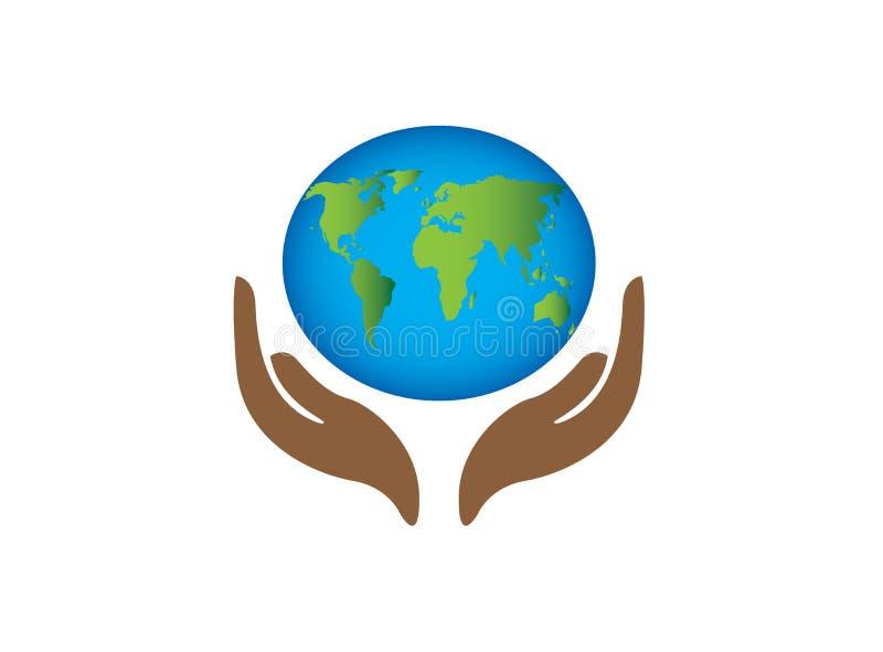 O mapa do planeta com cuidado do envirenment do mundo das mãos para o vetor do projeto do logotipo, protege o ícone do globo, sím ilustração stock