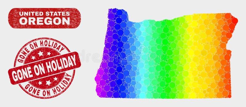 O mapa espectral do estado de Oregon do mosaico e riscou ido no selo do feriado ilustração royalty free