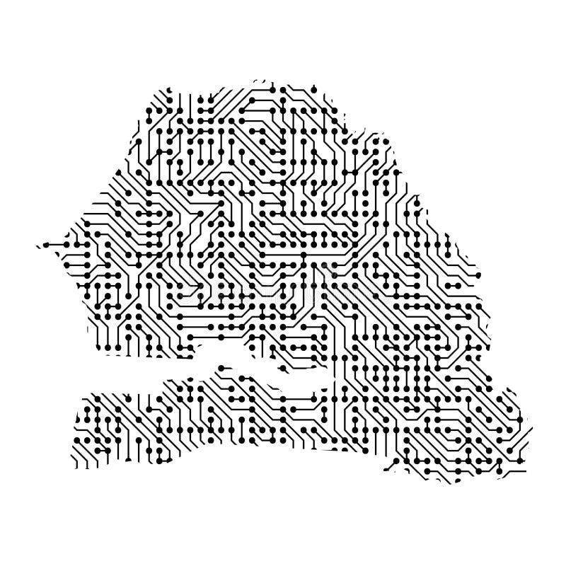 O mapa esquemático abstrato de Senegal do preto imprimiu a placa, ilustração do vetor