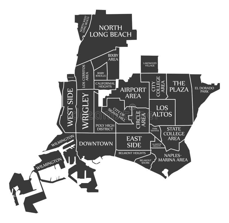 O mapa EUA da cidade de Long Beach Califórnia etiquetou a ilustração preta ilustração do vetor