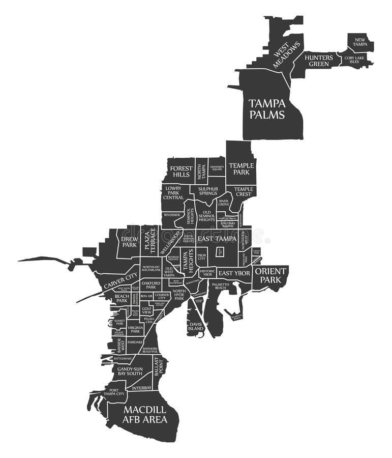 O mapa EUA da cidade de Tampa Florida etiquetou a ilustração preta ilustração stock