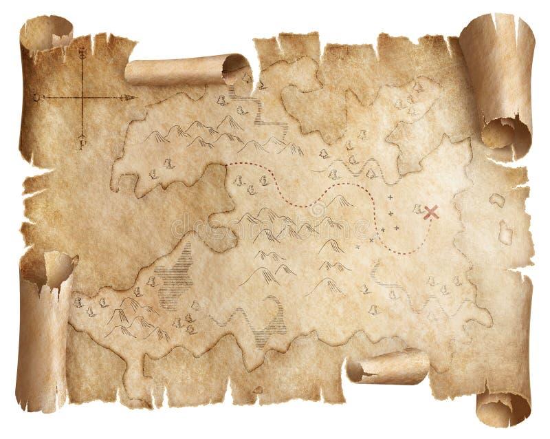 O mapa gasto antigo do tesouro isolou-se fotografia de stock