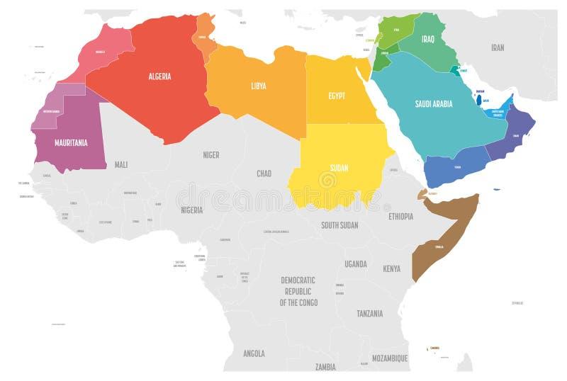 O mapa político dos estados do mundo árabe com coloridamente higlighted 22 países de língua árabe da liga árabe northern ilustração stock