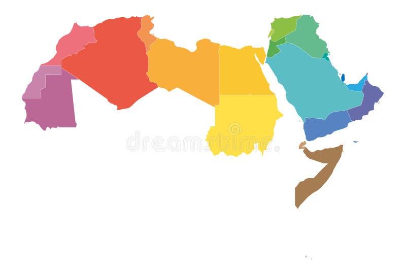 O mapa político dos estados do mundo árabe com coloridamente higlighted 22 países de língua árabe da liga árabe northern ilustração royalty free