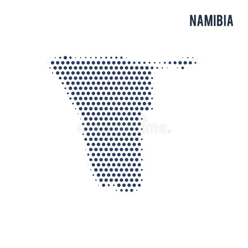 O mapa pontilhado de Namíbia isolou-se no fundo branco ilustração stock