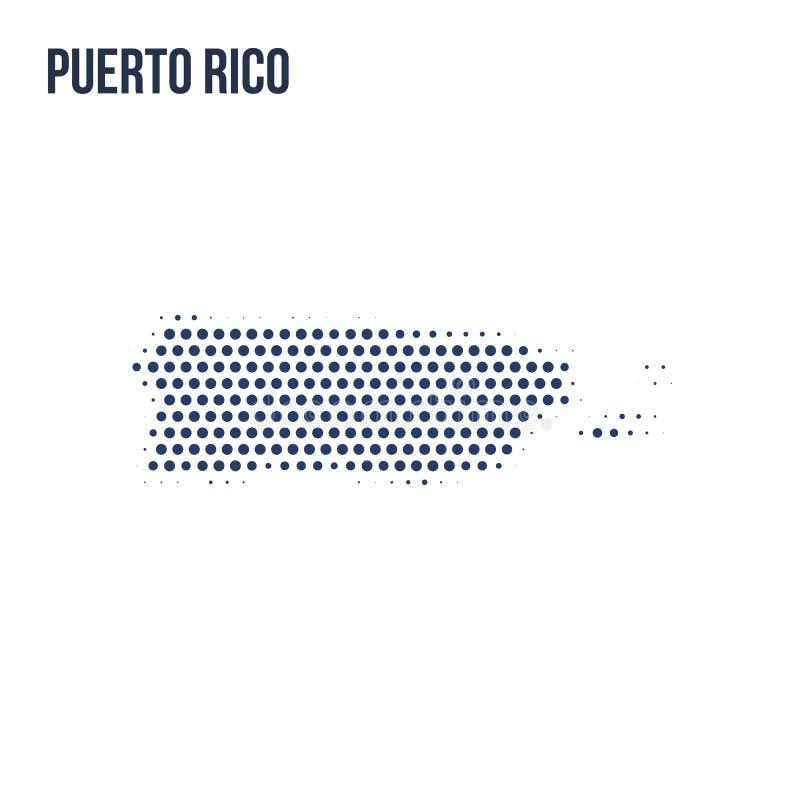O mapa pontilhado de Porto Rico isolou-se no fundo branco ilustração stock