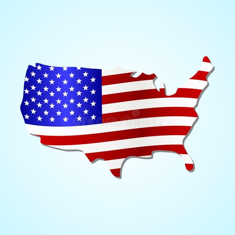O mapa simples dos EUA encheu connosco o símbolo colorido eps10 da bandeira ilustração royalty free
