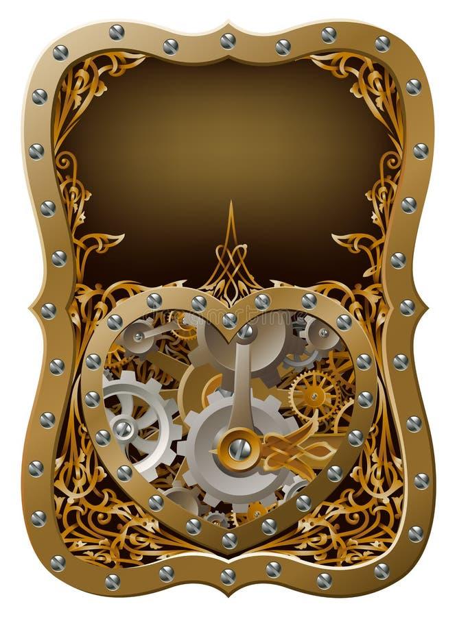 O maquinismo de relojoaria da máquina alinha o conceito do coração ilustração royalty free