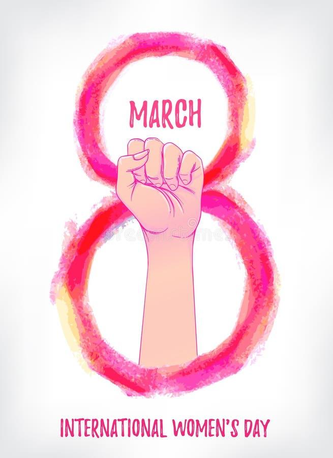 O março das mulheres Mão fêmea com seu punho aumentado acima Poder da menina ilustração royalty free