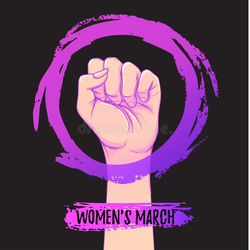 O março das mulheres Mão fêmea com seu punho aumentado acima Poder da menina ilustração stock