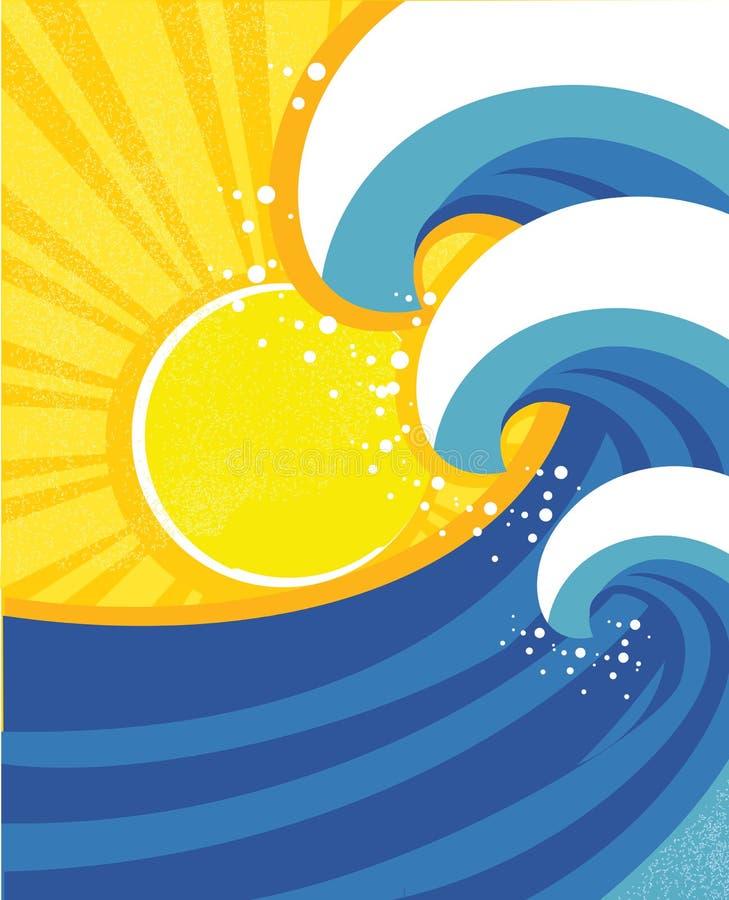 O mar acena o poster. ilustração stock