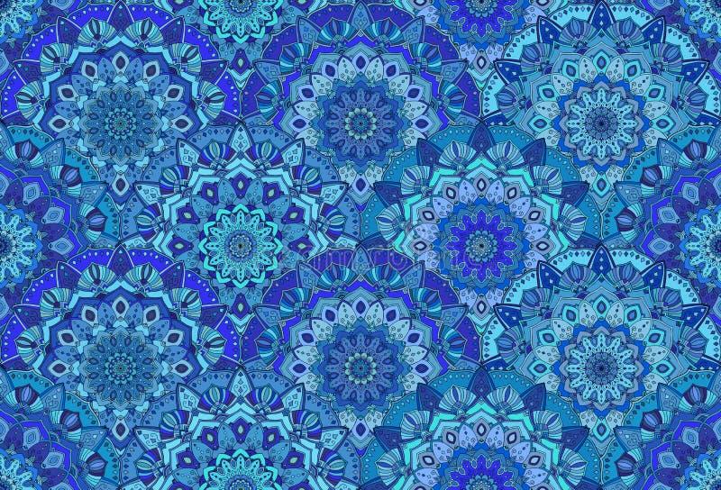 O mar azul do fundo acena Mandala Flowers ilustração royalty free