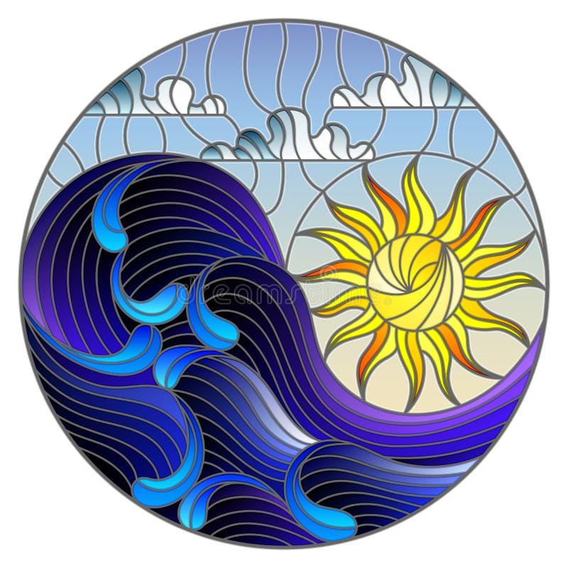 O mar da paisagem do sumário da ilustração do vitral acena no fundo do céu e de nuvens ensolarados, ilustração redonda ilustração do vetor