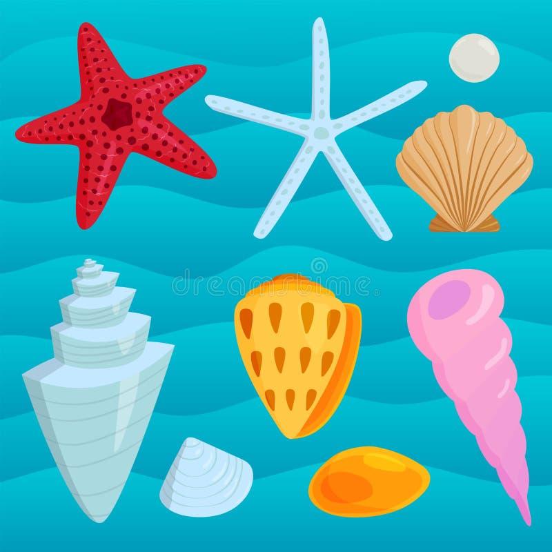 O mar descasca a ilustração coralina marinha do vetor da parte superior dos desenhos animados e da estrela do mar do oceano ilustração stock