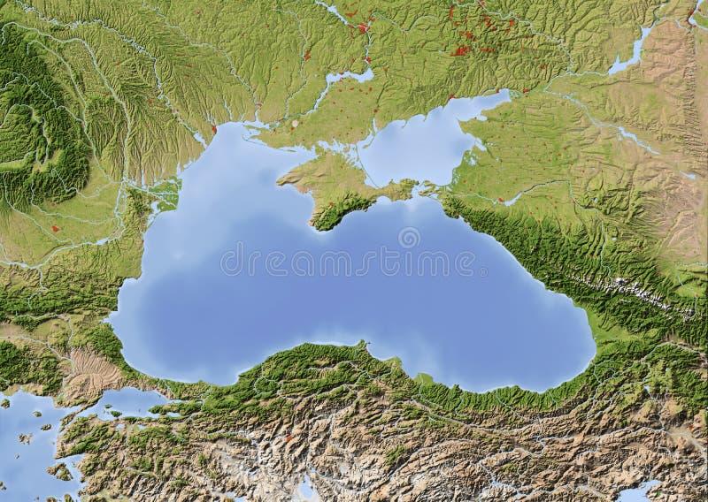 O Mar Negro, mapa de relevo protegido ilustração stock