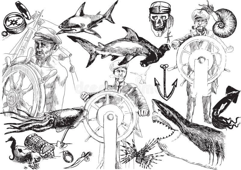 O mar, sais velhos ilustração royalty free