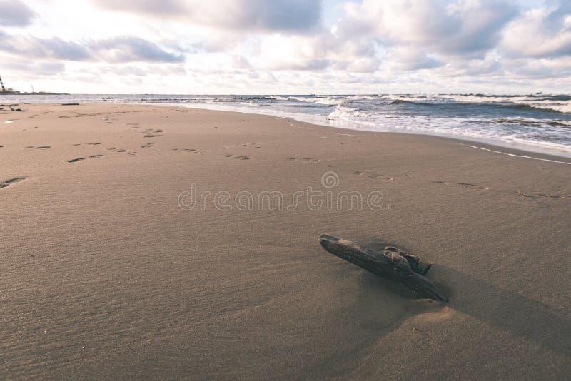 O mar tormentoso no inverno com branco acena o esmagamento - lo do filme do vintage imagem de stock royalty free