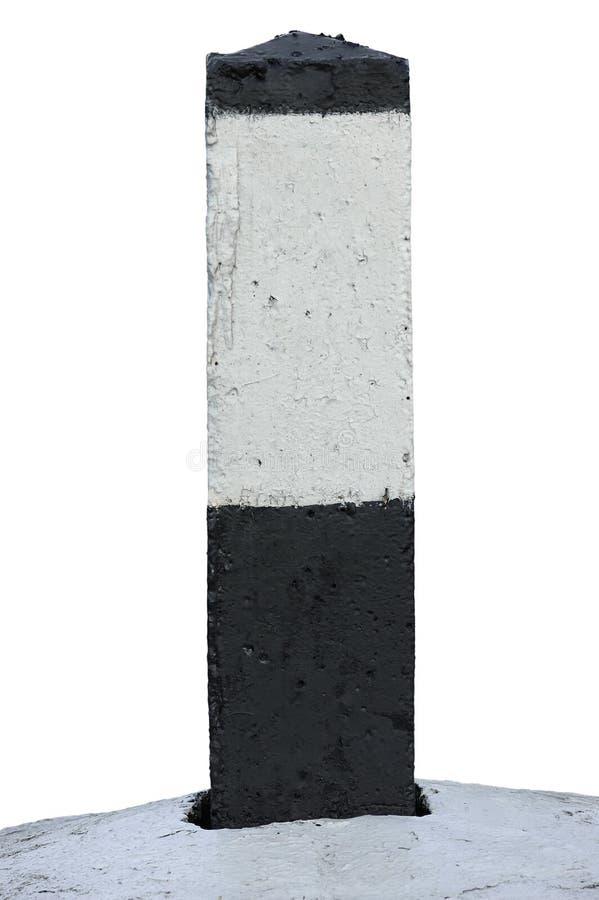 O marcador da milha da linha ferroviária da rota da estrada de ferro em preto e branco, anula o marco miliário Railway isolado va fotos de stock royalty free