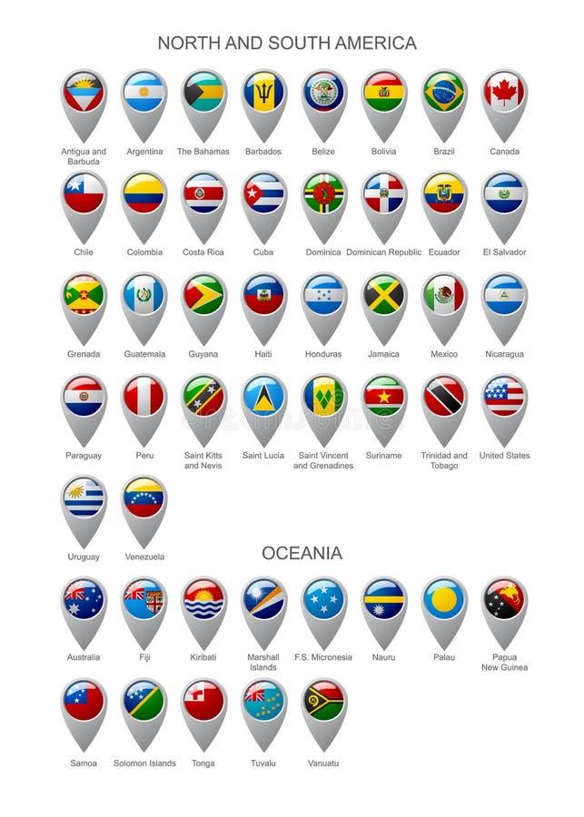 O marcador do mapa ajustou-se com as bandeiras de continentes do norte e da Ámérica do Sul ilustração royalty free