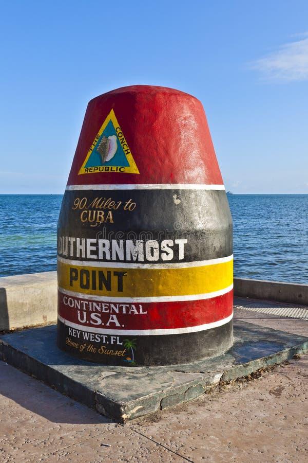 O marcador o mais southernmost do ponto, Key West, EUA fotografia de stock