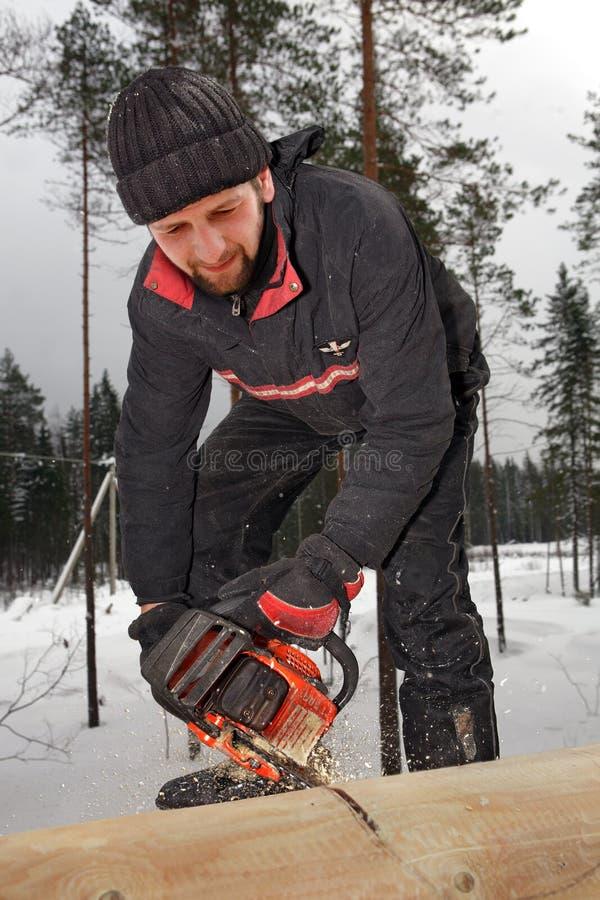 O marceneiro está cortando um tronco de árvore do log com serra de cadeia foto de stock royalty free