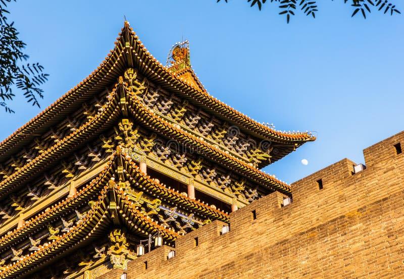 O marco da cidade de Taiyuan que constrói a porta norte pequena fotos de stock